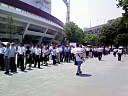 横浜公園に長蛇の列の図